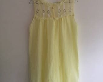 Vintage 60s Buttercup Yellow Nylon Lingerie Nightie