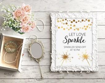 Let Love Sparkle, Sparkler Send Off, Real Gold Foil, Sparkler Wedding Sign, Chic Wedding Decor, Gold Wedding Art, String Light Art