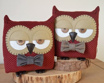 "Owl Cushion, Owl Pillow, Plush Owl, Decorative Owl, Owl Lover Gift, Red Owl (Crimson Polka Dot with Custom Bow Tie) - ""Terry the Owl"""