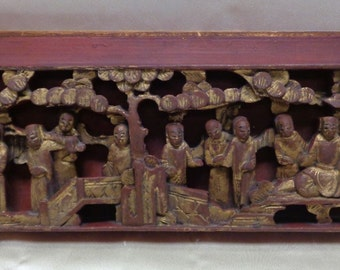 Antique Red & Gold Finish Wooden Wall Hanging w. Decorative 3D Oriental Carved Figures
