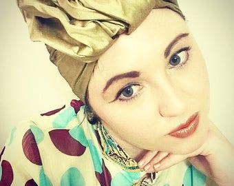 1940's Vintage Style Silk Turban Gold Glamourous Style Pin Up Hat Retro Biba Millinery