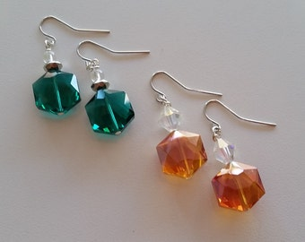 Sparkling Acrylic and Crystal Earrings