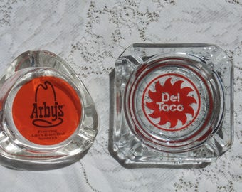 Fast Food Restaurant Advertising Ashtray Collection - Arby's, Del Taco