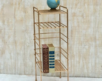 Midcentury Gold Metal Plant Phone Stand, Vintage Plant Stand, End Table