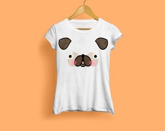 Pug T-Shirt With Tail, Pug Face Ladies Tshirt - Cute Dog Tshirt, Pugs Tshirt, Cute Pug, Funny Pug, Dog Face, Animal Tshirt, S M L XL XXL