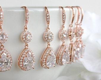 Angelica - Rose Gold Personalized Wedding Earrings, Bridal Earrings, Crystal Teardrop Earrings, Bridesmaid Gift, Bridesmaids Earrings