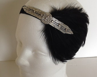 Silver rhinestone headband, crystal deco fascinator great gatsby  roaring 20s fascinator, flapper Halloween costume  headpiece Art Deco