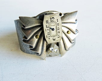 Industrial Metal Steampunk Cuff Bracelet Watch Face Heavy Metal Cuff