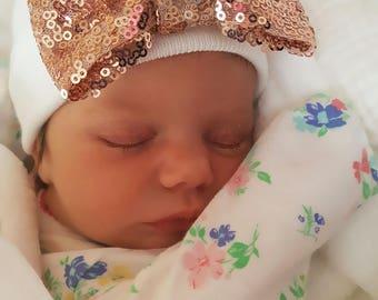 Rose Gold Sequin Newborn BABY GIRL HAT baby girl newborn hat newborn beanie hospital cap newborn girl newborn hat girl baby newborn