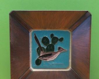 Vintage Southwestern DHC Handmade Copper Framed Gila Pottery Art Tile Mid Century Desert House Crafts