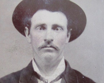 Original 1880's Young Mustache Man With Piercing Eyes Tintype Photograph - Free Shipping