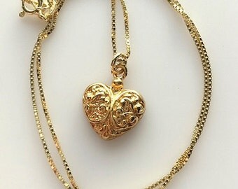 18K Gold Vermeil Over Sterling Silver Fancy Heart Necklace - Small Gold Heart Necklace - Valentines Gift