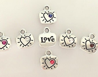 Silver Heart and Love Charm Necklace With Choice of Swarovski Crystal Color - Girls Small Heart Love Charm Necklace