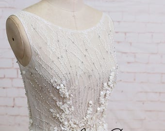 Sheer Crystal & Sequins Bodice Chiffon A Line Wedding Dress with Champagne Underlay