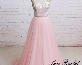 Pink Lace Flora Spaghetti Straps A Line Tulle Wedding Dress Open Back