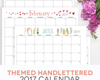 2017 2018 Calendar Printable Editable Digital Monthly Pages