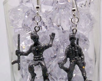 Kitsch Kawaii glittery grey plastic toy soldier statement drop earrings