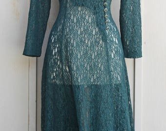 Green Lace Dress - Vintage Sheer Dress - 80s Dress - Long Sleeve Dress - Button Down Dress - See Through Dress - Wrap Dress - Grunge Dress