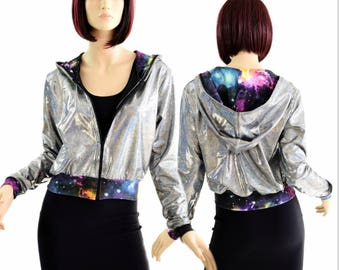 "Silver Holographic Long Sleeve Zipper Front Cropped ""Kimberly"" Hoodie Jacket with UV Glow Galaxy Hood Lining & Cuffs 154407"