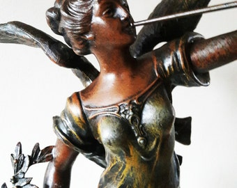 Large Antique Signed French Bronzed Spelter Statue - 'Muse des Arts' by Rousseau - Circa 1880