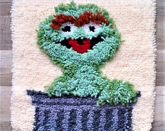 1970s Vintage Retro Sesame Street Oscar The Grouch Muppet Hooked Rug Carpet  Square Wall Decor