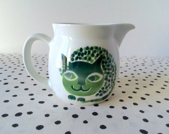 SALE // Vintage Arabia Finland Cat Pitcher, Arabia Cat Pitcher, Green Cat Pitcher, Arabia Finland Pitcher, Midcentury Modern Pitcher, MCM