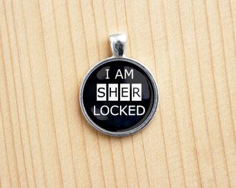 Sherlock Holmes inspired pendant i'msherlocked round