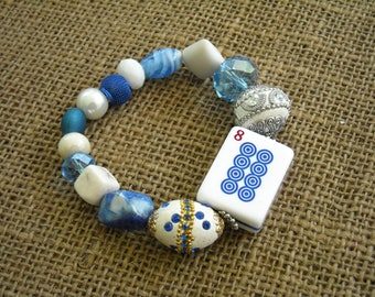 Mahjong  Bracelet - Jesse James Beads Jewelry - Mahjong Jewelry - Star of David - Holiday Gift - Mahjong Present - Blue Mahjong