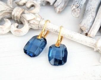 Navy blue bridal earrings Blue Swarovski crystal earrings Rectangular dangle silver rose gold earrings Denim blue bridesmaid earrings gift