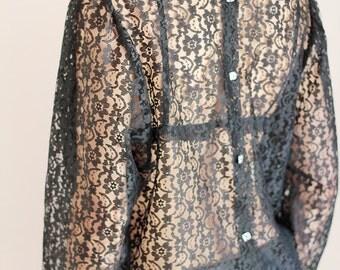 SALE Black Lace Blouse size s/m, Stevie Nicks style, Sheer shirt