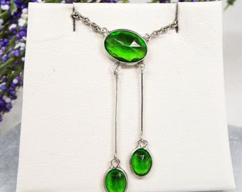 Vintage Art Deco Sterling Silver Green Emerald Paste Lavalier Pendant Necklace