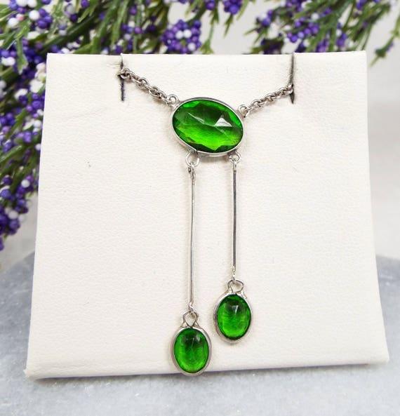 Vintage Art Deco Sterling Silver Green Emerald Paste Lavalier Pendant Necklace