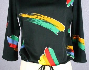 70s Tie Waist Blouse Vintage Shirt Avant Garde Shirt GRAPHIC Print Top Rainbow Print Blouse DISCO Blouse BOHO Chic Op Art Indie Hipster