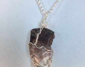Amethyst Pendant, Chevron Amethyst, Amethyst Necklace, Purple and White, Natural Stone, Raw Amethyst,  Dark Purple,  Wire Wrapped,