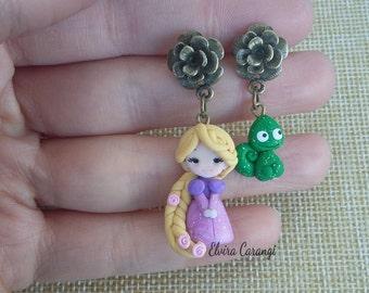 Rapunzel tangled, earrings , disney princess, fanart, handmade, bronze, polymer clay