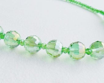 Pale Green Necklace Aurora Borealis Single String Glass Faceted Sparkly Beads 18 Inches Rockabilly Party