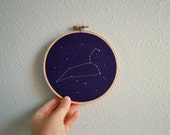 Leo Constellation Embroidery Hoop Art - Zodiac Star Sign, Astrology Wall Hanging, Hand Embroidered Leo Gift, Starry Sky