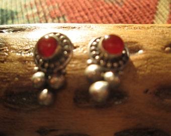 Carnelian and Sterling Post Earrings