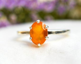 Natural Carnelian Oval Cut Ring with 925 sterling silver *Free worldwide shipping*