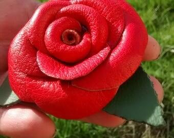 Leather Rose Brooch handmade