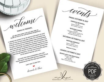 Wedding Welcome and Itinerary card, editable PDF template, Timeline card, Wedding weekend, welcome bag, welcome box, rustic theme(TED312_10)