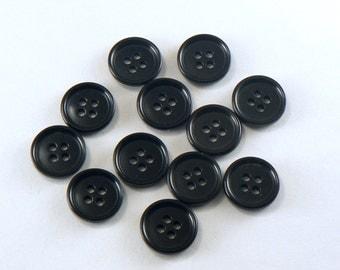 "12 - 5/8"" Plastic Black Buttons - 4 Hole Buttons - Shirt Buttons - 15 mm Sewing Buttons - Plain Buttons #B-04-10"