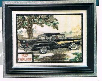 CROSS STITCH PATTERN - 1957 Fairlane - Cars Of The Fifties Cross Stitch Patterns - Vintage Car Cross Stitch Chart