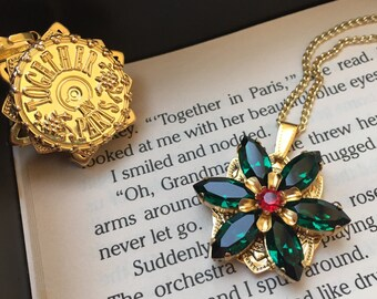 Together in Paris Anastasia Necklace with Swarovski Crystals Emerald Ruby Handmade Replica Gold 16K Flower Engraved Charm Cosplay