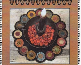 Wool Pattern - Scrappy Penny Candle Mat by Lisa Bonegan for Primitive Gatherings PRI195 - Pattern only