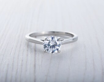 1ct Lab Diamond solitaire cathedral ring in Titanium or White Gold - engagement ring - wedding ring - handmade ring