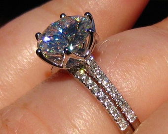 Lily Wedding Set: White Gold Engagement Ring Mount and Wedding Band, Custom Design, Bridal Set