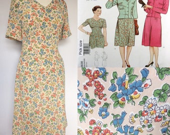 1940's Reproduction Floral Rayon Crepe Dress - UK 18