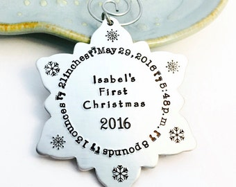 Snowflake ~ Personalized Christmas Tree Ornament ~ Custom Name Holiday Gift ~ Family Keepsake ~ Silver Decoration ~ HarperLeeJewelry