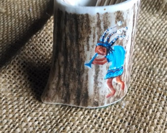 "toothpick holder, made of Elk Antler, with an original carving/painting (Kokopeli Indian figure) about 2-1/4"" high (opening about 1-1/2"")"
